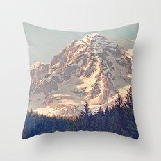 Mount Rainier Retro Throw Pillow