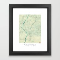 Albuquerque Map Blue Vin… Framed Art Print