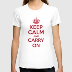 keep Calm and Carry On - Red/White Book Womens Fitted Tee White SMALL