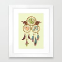 Peace, Love And Music Framed Art Print