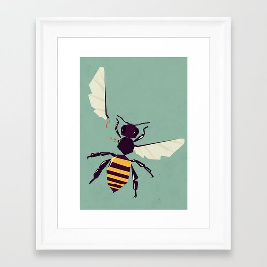 H is for honey bee  Framed Art Print