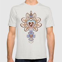 Flowering Heart Mens Fitted Tee Silver SMALL