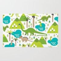 Dinosaur illustration pattern print Rug