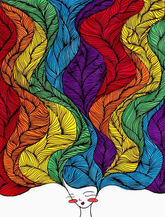 Rainbow Hair Art Print