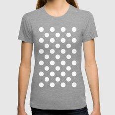 Polka Dots (White/Aquamarine) Womens Fitted Tee Tri-Grey SMALL