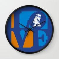 Robot LOVE - Blue Wall Clock