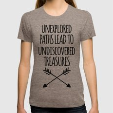 Unexplored Paths Quote Womens Fitted Tee Tri-Coffee SMALL
