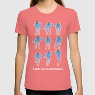 Hotline Bling (blue) Womens Fitted Tee Pomegranate LARGE