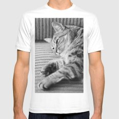 Cat SMALL White Mens Fitted Tee