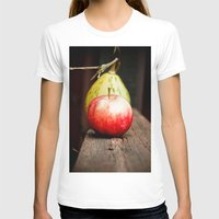 Autum Apple Womens Fitted Tee White SMALL