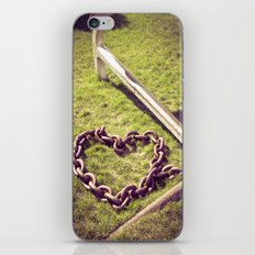Anchored by Love. Nautical Photograph.  Anchor, Heart Chain iPhone & iPod Skin