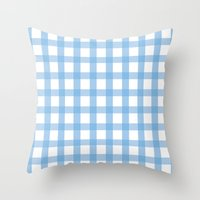 Throw Pillow featuring Indigo Gingham by SalbyN