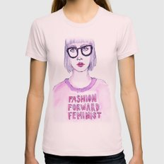 Fashion Forward Feminist Womens Fitted Tee Light Pink SMALL