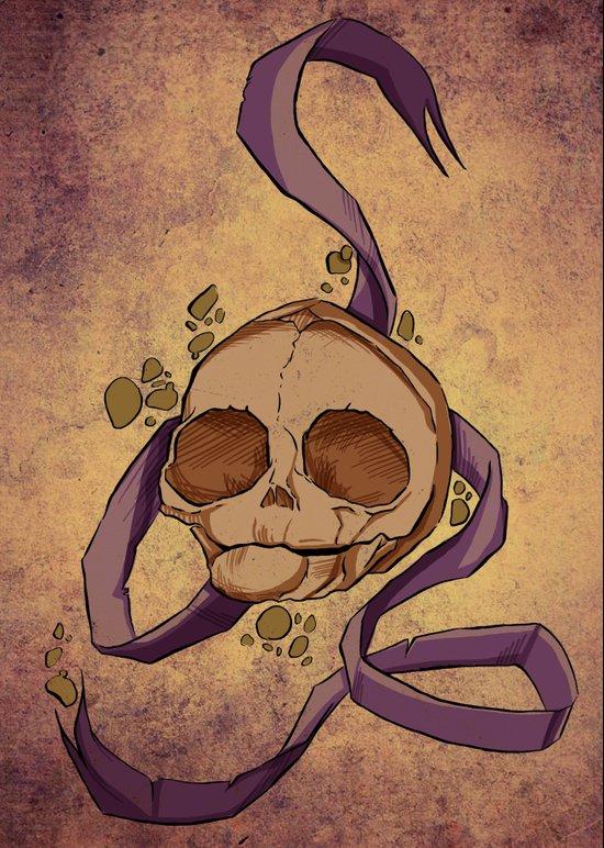 Skull and ribbon  Canvas Print