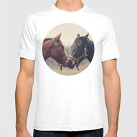 Horses  Mens Fitted Tee White SMALL