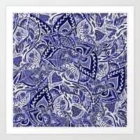 Modern navy blue indigo floral hand drawn pattern Art Print