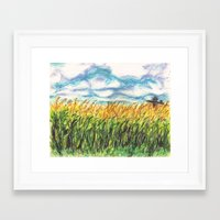 Lonely Scarecrow Framed Art Print