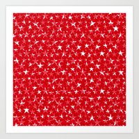 White stars abstract on bold red background illustration Art Print
