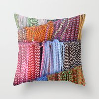 Color threads Throw Pillow