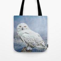 Snowy Owl In Mist Tote Bag