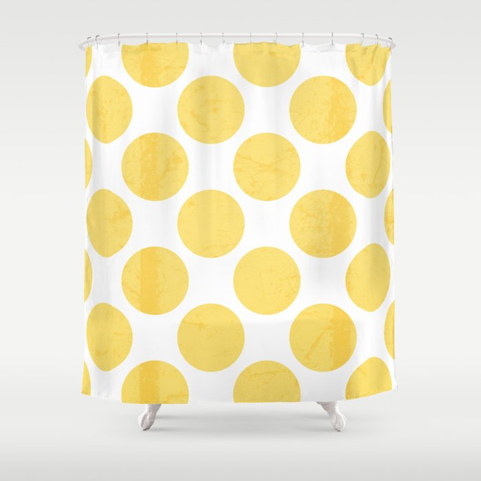 Yellow Polka Dot Shower Curtain By The Petite Pear Society6