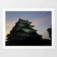 Japanese Castle At Sunse… Art Print