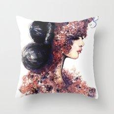 Flower Girl // Fashion Illustration Throw Pillow