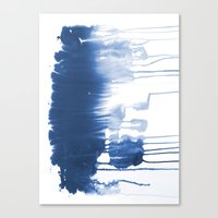 Paint 1 - indigo blue drip abstract painting modern minimal trendy home decor dorm college art Canvas Print
