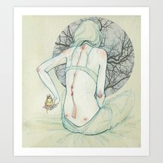 The lady and the bird. Art Print