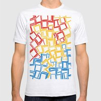 rectangles in primary colours Mens Fitted Tee Ash Grey SMALL