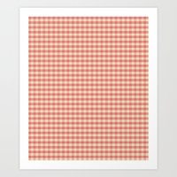 Pink Gingham Check Water… Art Print