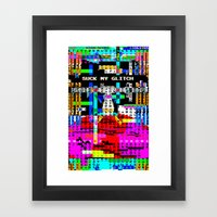 Suck my Glitch Framed Art Print