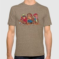 Three Wise Hipster Monkeys Mens Fitted Tee Tri-Coffee SMALL