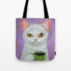 WHITE CAT AND BLACK COFFEE Tote Bag