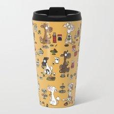 Retro cows - yellow Travel Mug