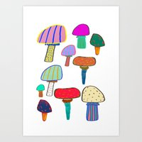 Mushrooms, mushroom print, mushroom art, illustration, design, pattern,  Art Print
