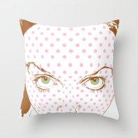 Pop art face Throw Pillow