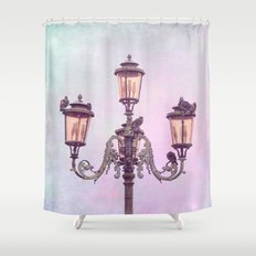 MAGICAL VENICE | Pink Lanterns Shower Curtain