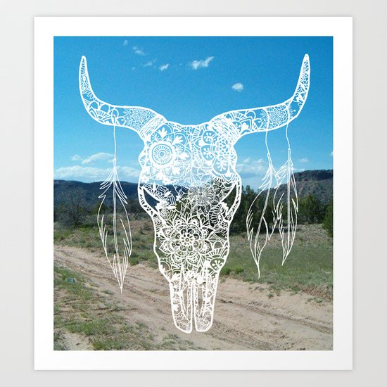 new mexico bull skull art print
