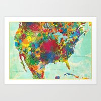 United States Map Art Print