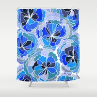 Floral Blue Shower Curtain