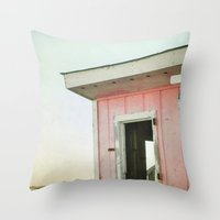 Little Pink Beach House Throw Pillow