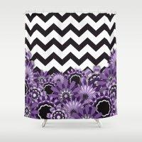 Purple Flower Chevron Shower Curtain