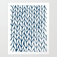 Hand Knitted Navy Art Print