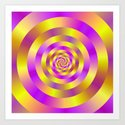Yellow and Pink Spiral Rings Art Print