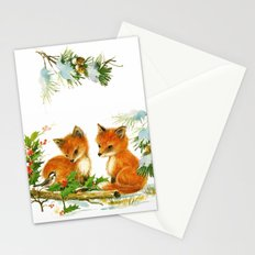 Vintage dream- little Winterfoxes in snowy forest Stationery Cards