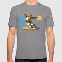 God Surfed Mens Fitted Tee Tri-Grey SMALL
