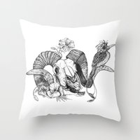 The ramskull and bird Throw Pillow