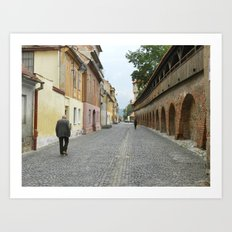 Old Walls, Old Man Walking Art Print