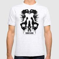 Samus Aran Metroid Geek Psychological Diagnosis Ink Blot  Mens Fitted Tee Ash Grey SMALL